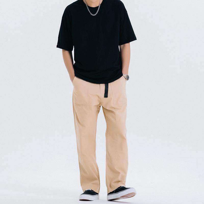 pantalon mode casual mâle japonais tendance rétro rue pantalon loose droite polyvalente combinaison de couleur unie simples