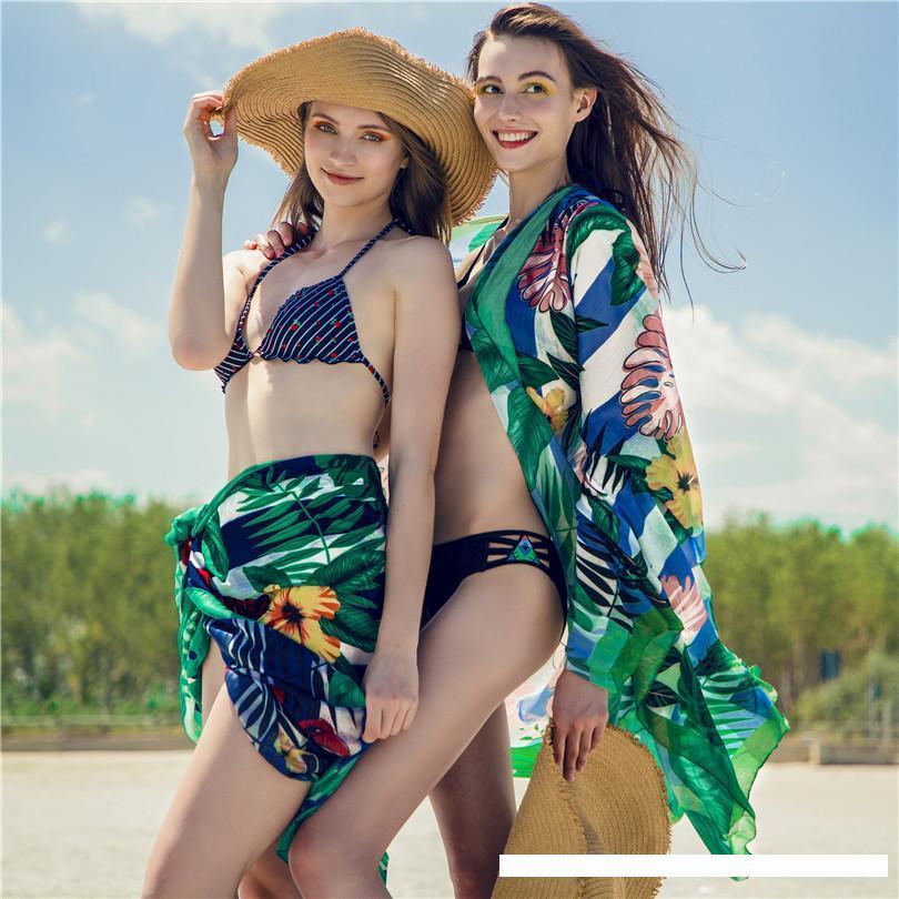 Summer Beach Pareo Scarf Mulheres Sarong Praia Lenços Design original de 175 * 115 centímetros Bandana Wraps Xaile Feminino Bikini Swimsuit Praia Cover Up