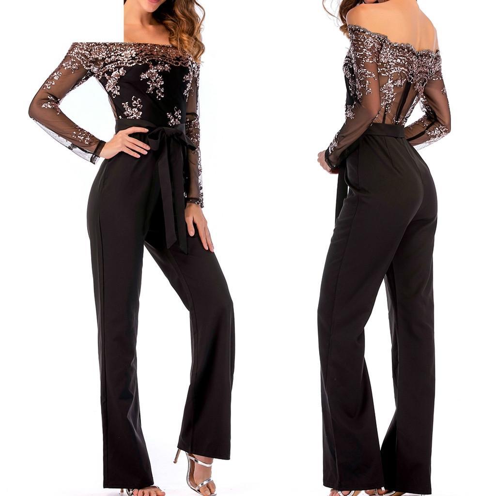 commercio all'ingrosso 2019 nuova moda estate gamba larga vestiti di paillettes maglia giuntura spalla fredda manica lunga tuta 19JAN24