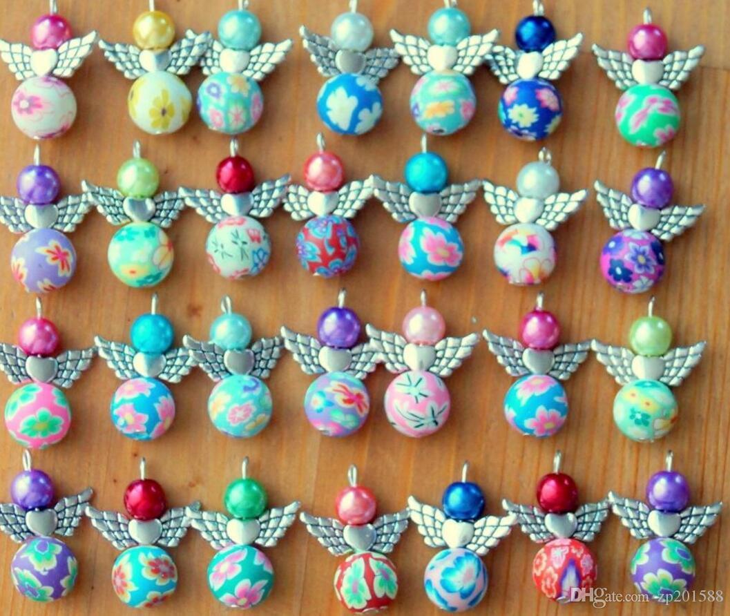 Clay Fleure acrylique perles imitation Pendentif coeur en métal Dangle Ange Charms pour collier bijoux bracelet Faire décoration Arbre de Noël