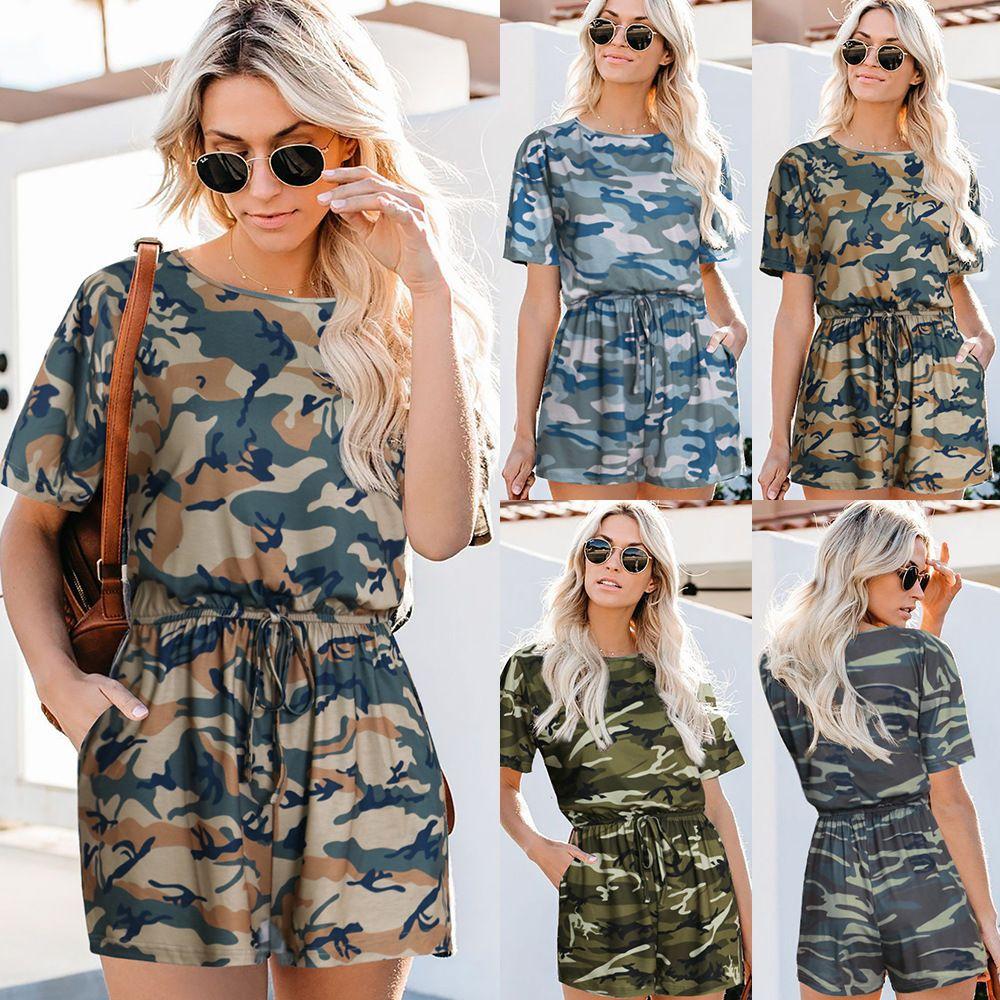 Fairy2019 Summer Suit-dress New Pattern Even Underwear Fashion Camouflage Girocollo Degree of Strightness Vita Bandage Manica corta Lin Tai