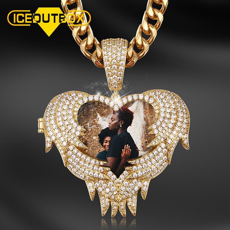 Personalizzati Hip Custome ciondolo collana fotografica del nuovo di disegno del cuore di modo Jewelry Hop personalizzato Per Drop Ship Uomini personalizzato gioielli