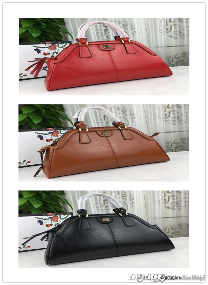 2018 (Re)BELLE Rebelle Medium Top Handle Black Grain Leather Satchel Romantic Cerise Handle Leather Shoulder Bag size:39*25*11cm