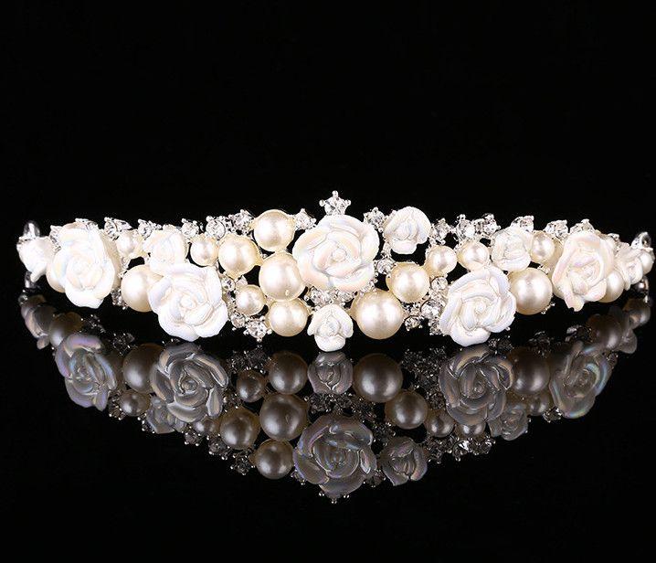 Chicas de lujo perlas diamantes artificiales corona de perlas de cristal se elevó tiaras coronas novia de la boda joyería niños de princesa bandas para la cabeza A1663