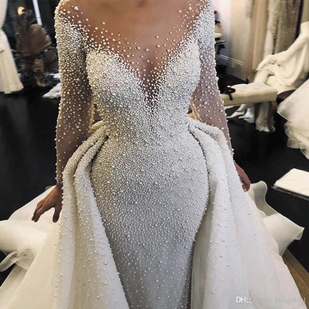 luxury wedding dresses 2020 detachable skirt peals beaded long sleeve elegant wedding gown vestido de noiva Bohe Wedding Dress