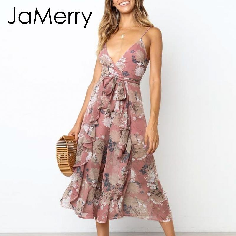 Jamerry Vintage Bohemian Imprimé Floral Femmes Combinaison Sexy Boho Spaghetti Strap Sash Jumpsuit Romper Élégant À Volants Salopette Y19060501