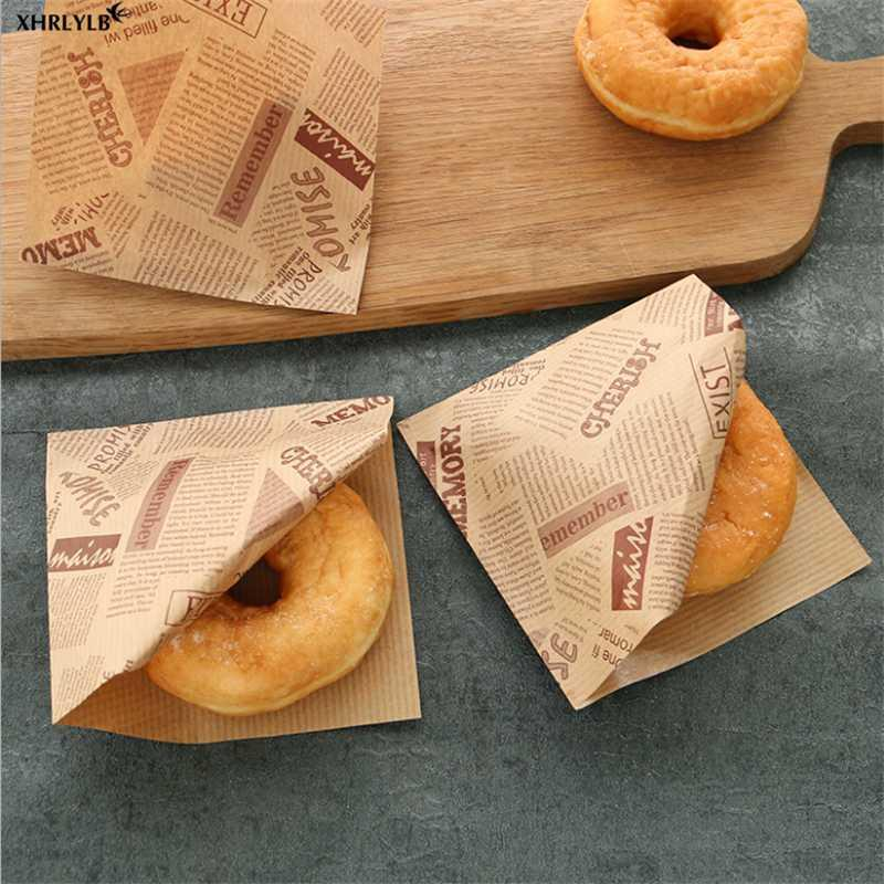 XHRLYLB 50 stück Englisch Muster Fettdichte Papiertüte Sandwich Donut Brot Papiertüte Backen Zubehör Hochzeit Decoration.7z