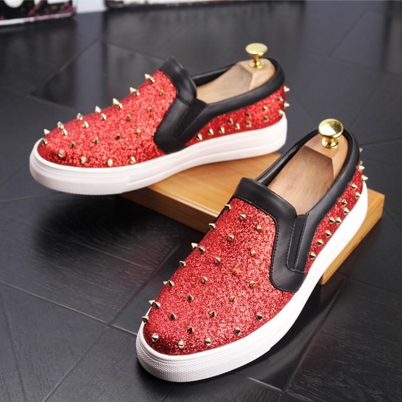 Herren Freizeitschuh Leder kleine weißen Schuhe net rot hot push Streifen knitter Hip-Hop-flache Schuhe Größe