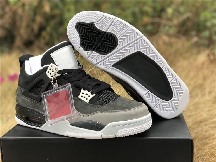 Venta al por mayor con la caja 2019 nuevos negros grises IV 4s verdes de los hombres zapatos de baloncesto al aire libre bajo los formadores de alta calidad tamaño libre 7-12