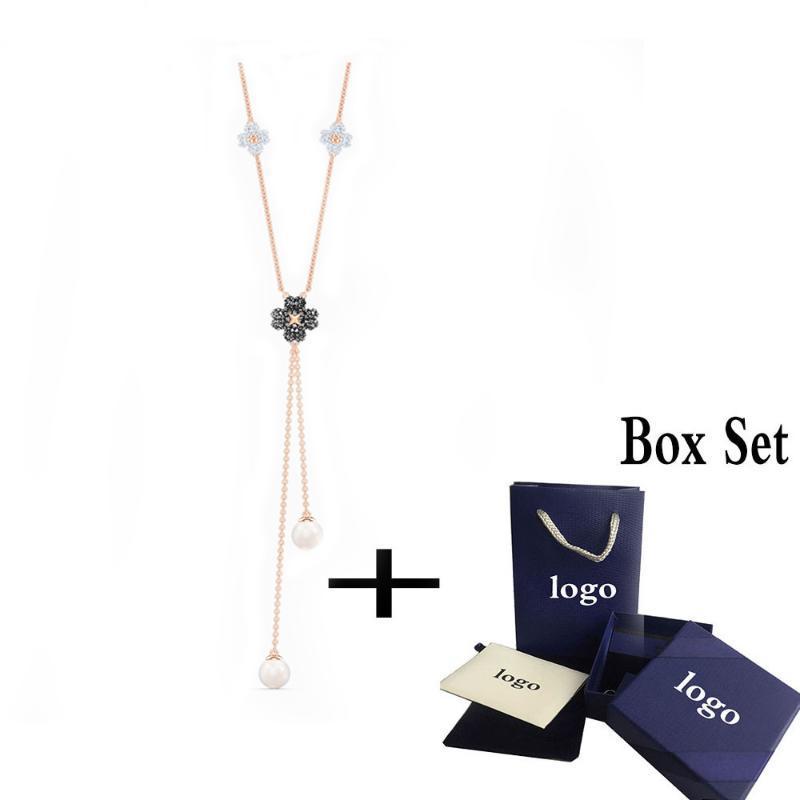 2020 di modo di alta qualità SWA LaTisha a forma di Y collana. Carino affascinanti decorazioni trifoglio signora magnifica elegante regalo romantico