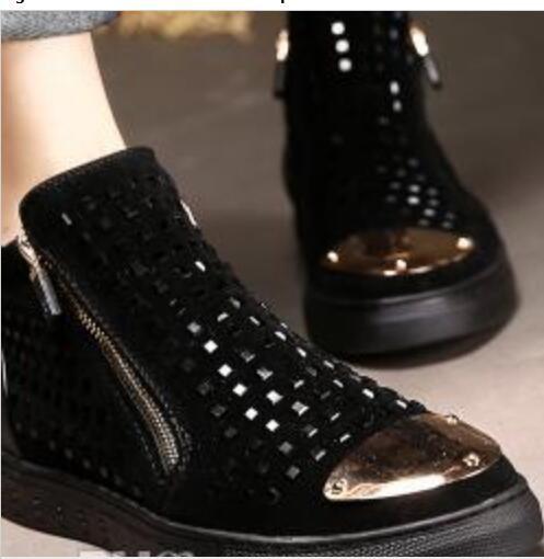 Compre Moda Nuevos Hombres Zapatos Casuales Diseñador De La Cremallera Zapatillas De Deporte Remaches Bajos Y Altos Botas Negros Hombres Punk Súper