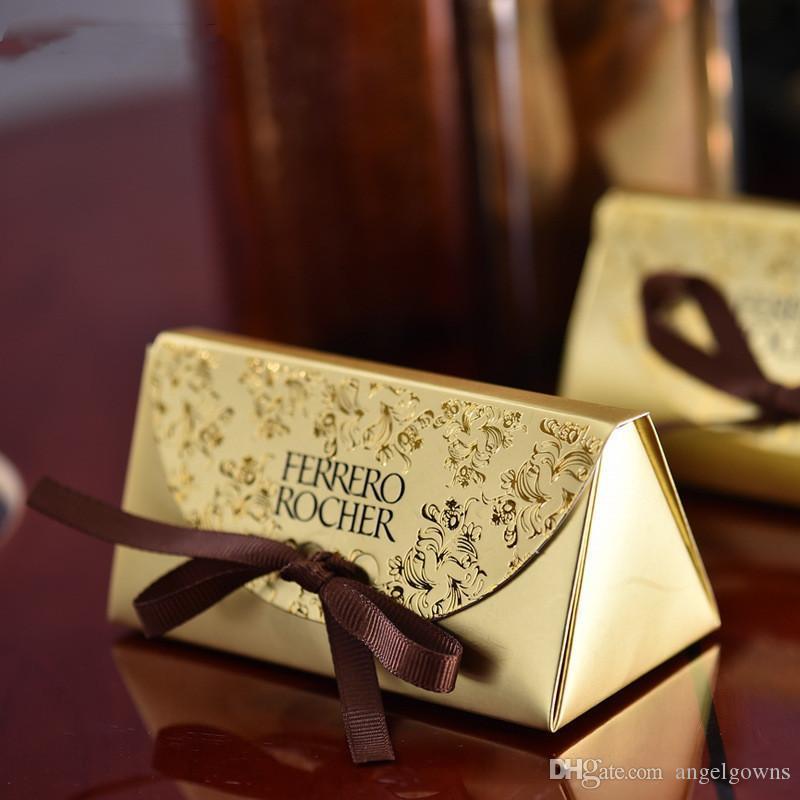 2019 Ucuz Düğün Uyruklular Ve Hediyeler Bebek Duş Kağıt Şeker Kutusu Ferrero Racher Kutuları Altın Düğün Şekeri Tatlı Hediyeler Çanta Malzemeleri