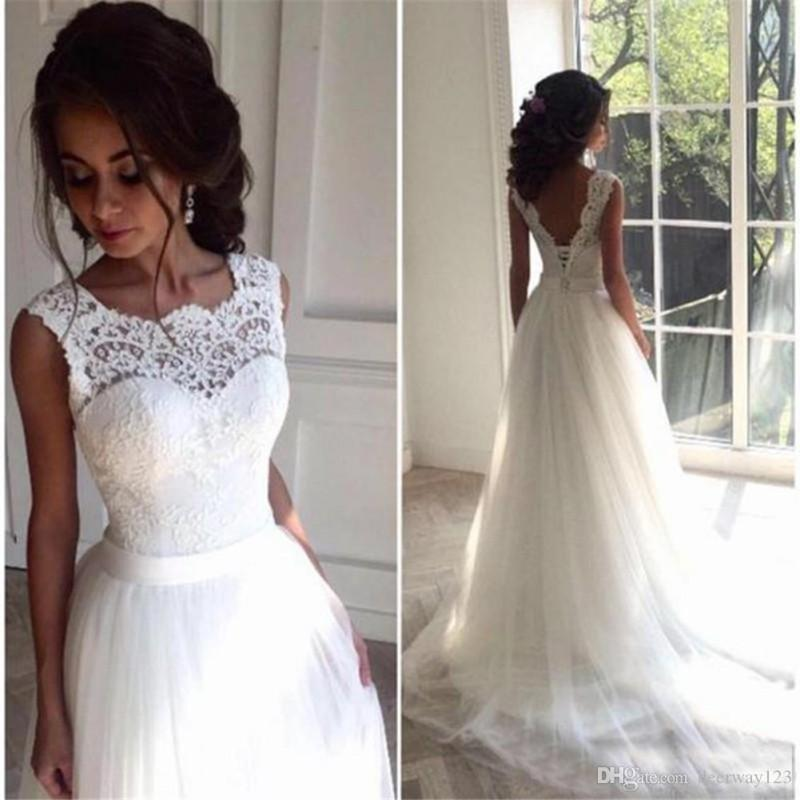 Simples 2020 Branco Tulle um boné linha de vestidos de noiva manga com Backless casamento coreano Vestidos Vestido de noiva