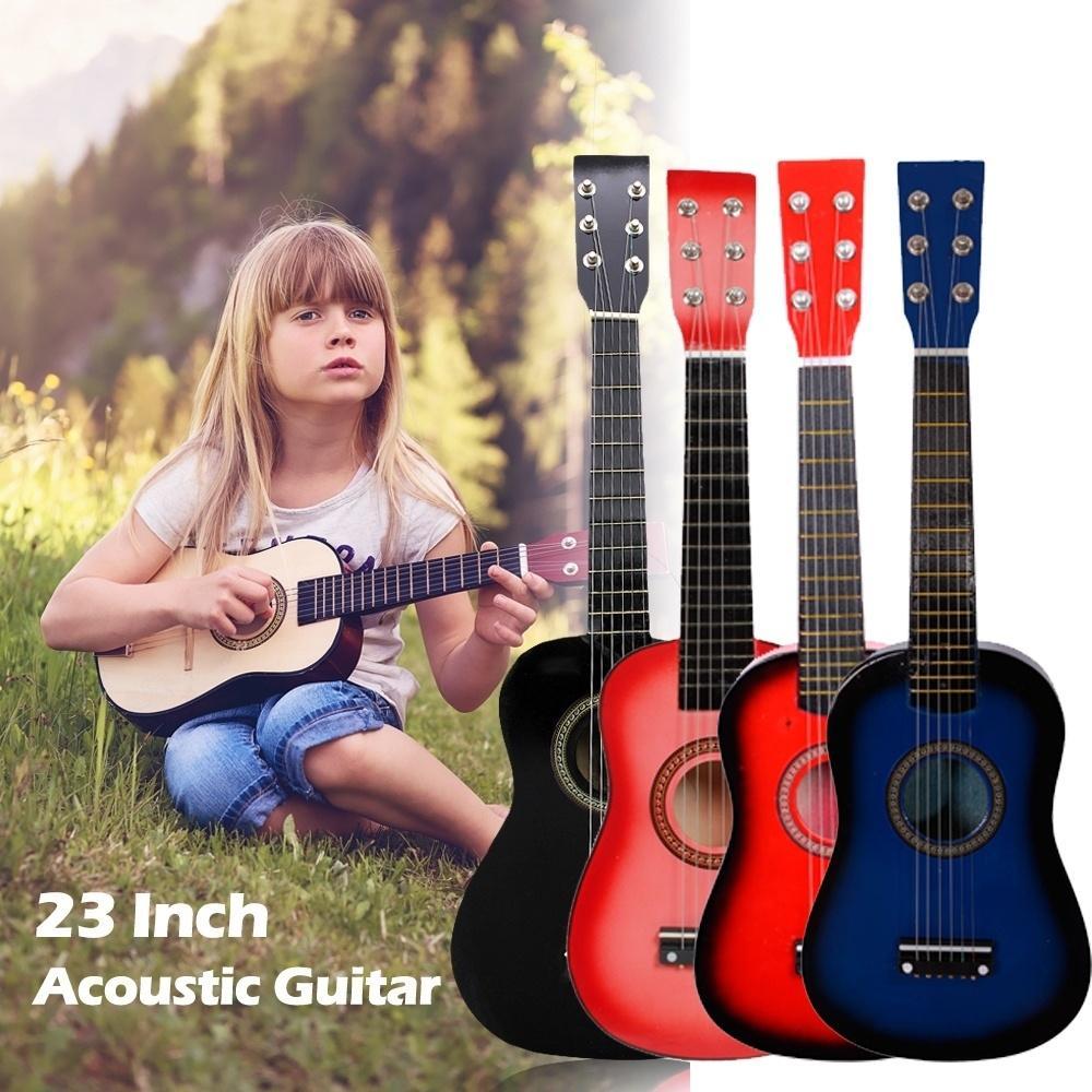 23-дюймовый Красный Гитара для начинающих Практика Акустические гитары с Pick 6 Строка для детей Детский Музыкальный инструмент