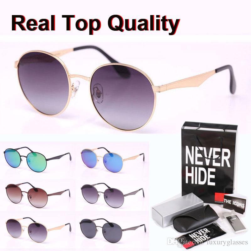 9 colores de calidad superior redonda gafas de sol polarizadas de los hombres de las mujeres marca de diseño del marco del metal con la caja original, paquetes, accesorios, todo!