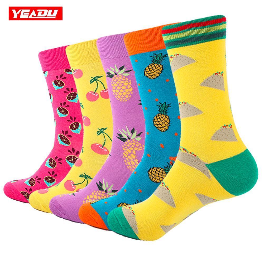 YEADU 5 pair/lot Men's Colorful Funny Socks Cotton Fruit Series Long Socks For Men Causal Dress Bright Multi-Color Wedding Gift