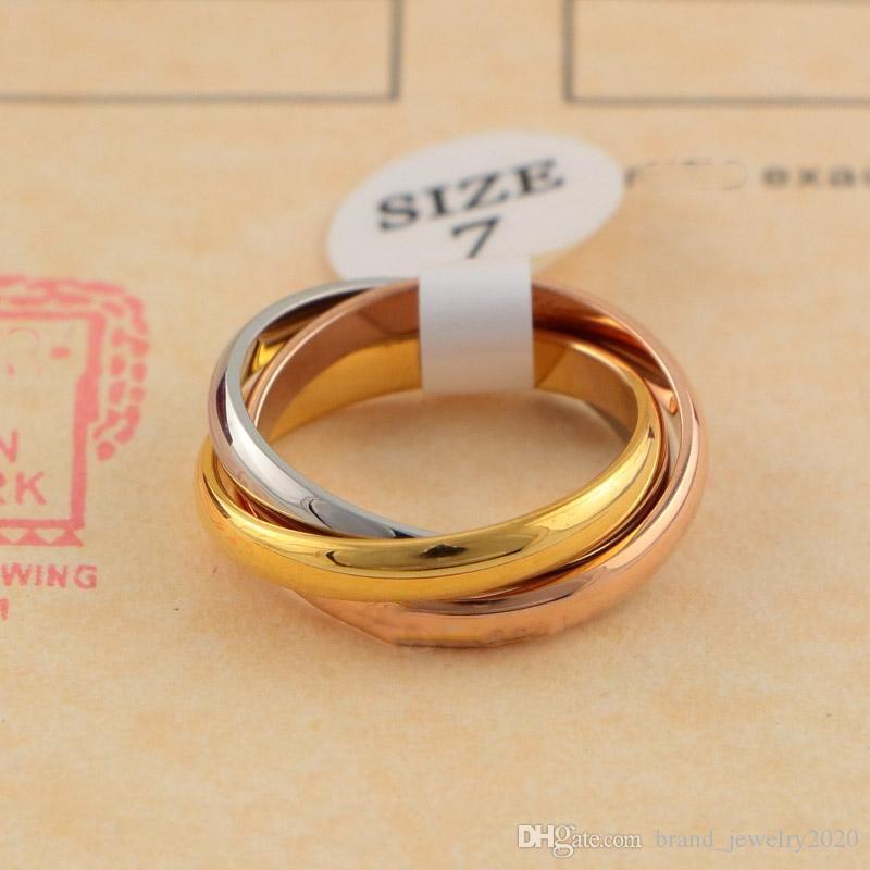 Klasik Üç Renk Pembe Altın Yüzük ile Erkekler Kadınlar Çift Moda Basit Stil Yüzüklerin için yüzüğü Üç yüzük