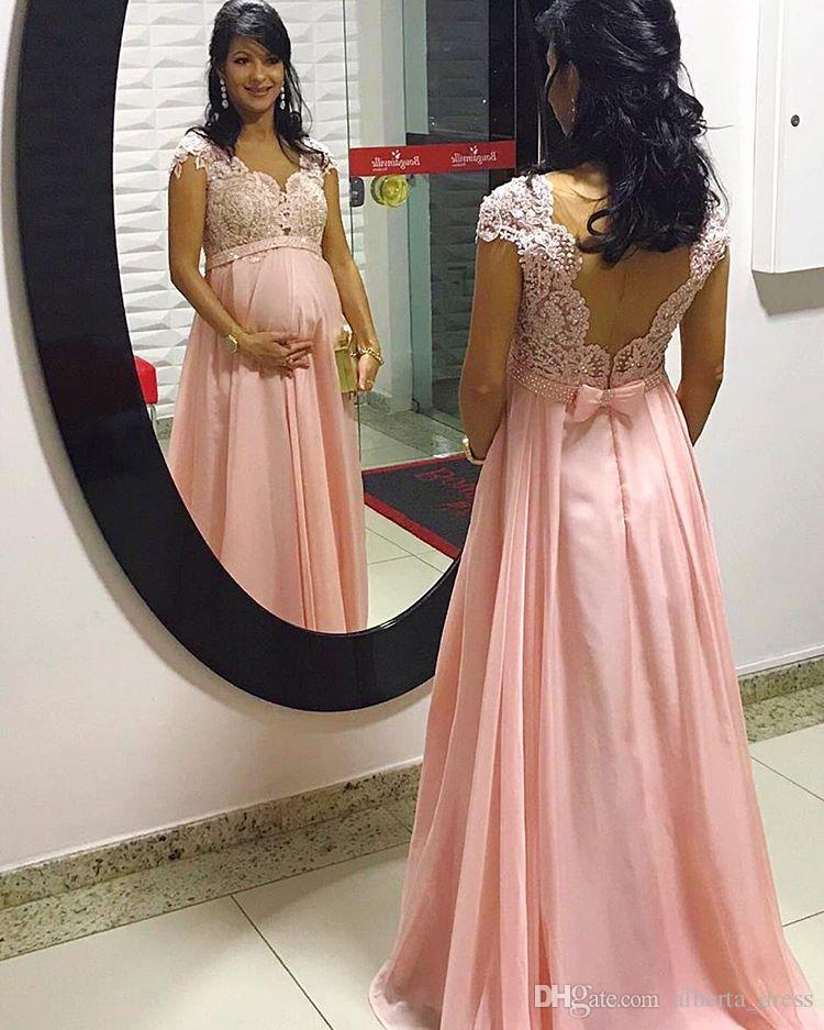 Arabo bordato merletto di maternità Abiti da sera senza maniche in chiffon Prom Dresses perline appliques economico formale damigella d'onore abiti spettacolo