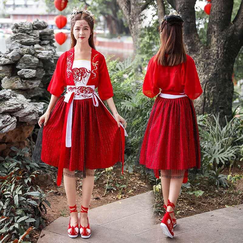 del designer cinese di stile di estate femminile vestiti di lunghezza del ginocchio mezza manica donne vestono abiti rossi 2 piece set Donne