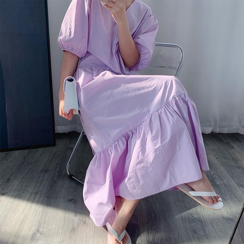 Abito Francese allentato lunghe in cotone con scollo a V di 2020 vestito delle donne mezza manica
