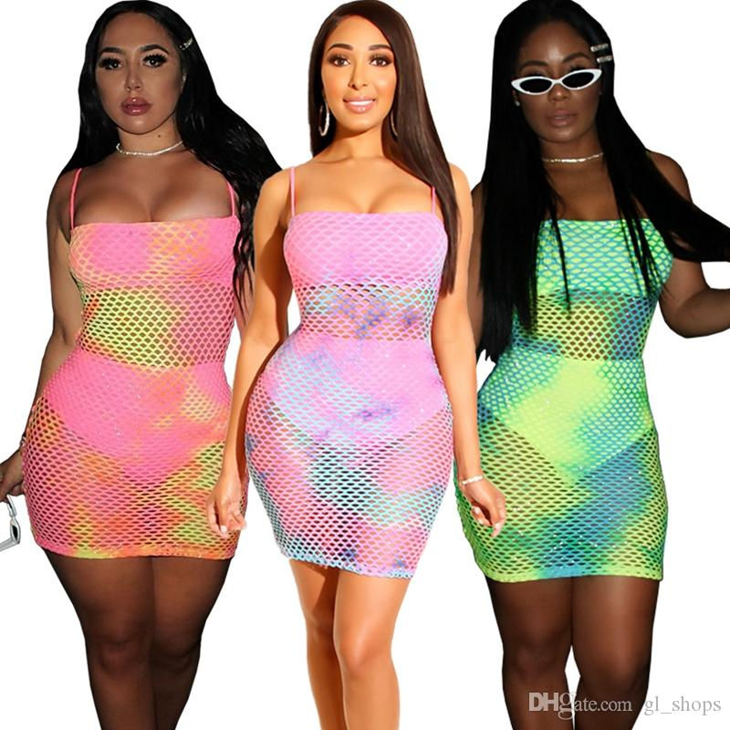 Womens Ladies Long Sleeve Fish Net Party Beach Bodycon Mini Dress Netted Tops