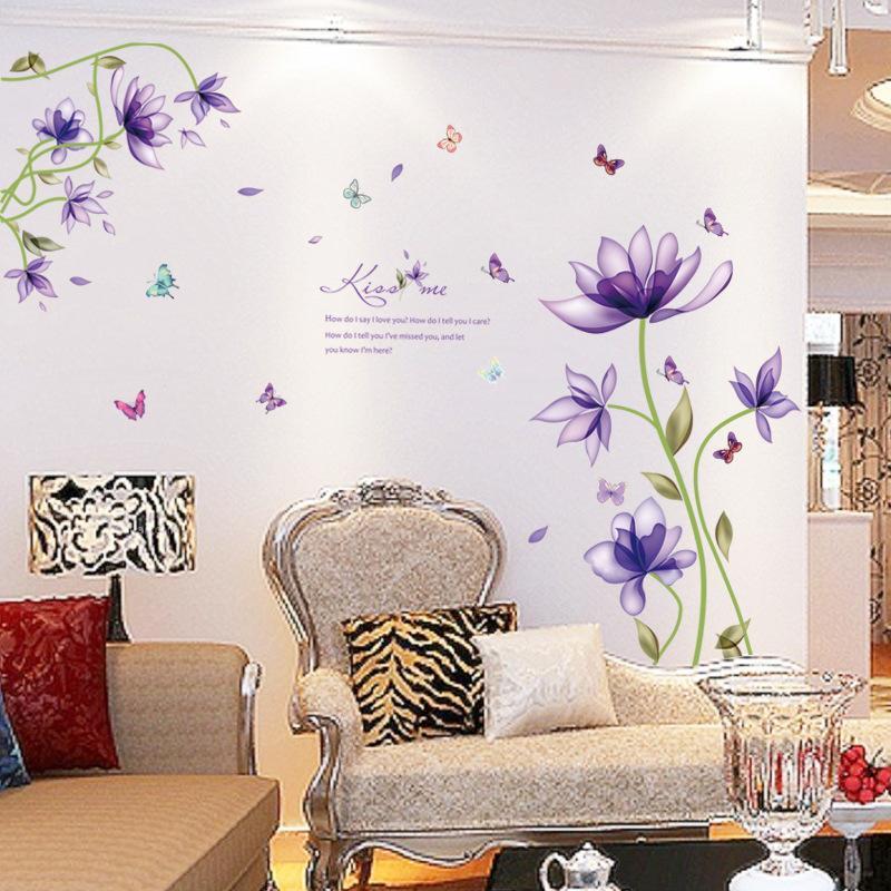 Nuevos Purple tulipanes flores pegatinas pared de la manera para la sala de bricolaje 3d etiqueta de la pared Decoración adesivo de parede