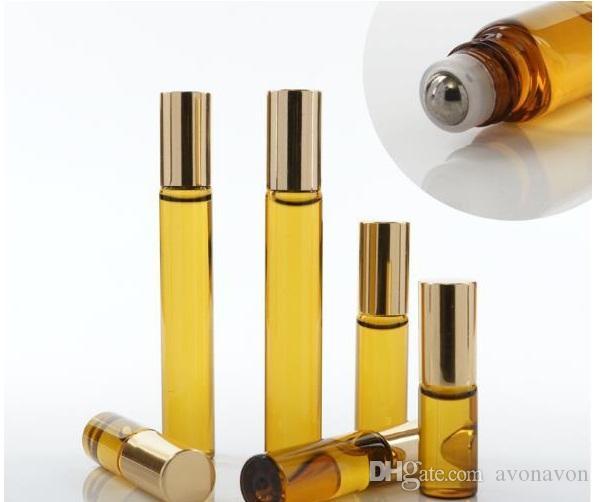 3ML 5ml 10ML Mini Roll On Glass bottle fragrance PERFUME Amber Brown THICK GLASS BOTTLES ESSENTIAL OIL bottle Steel Metal Roller ball B813
