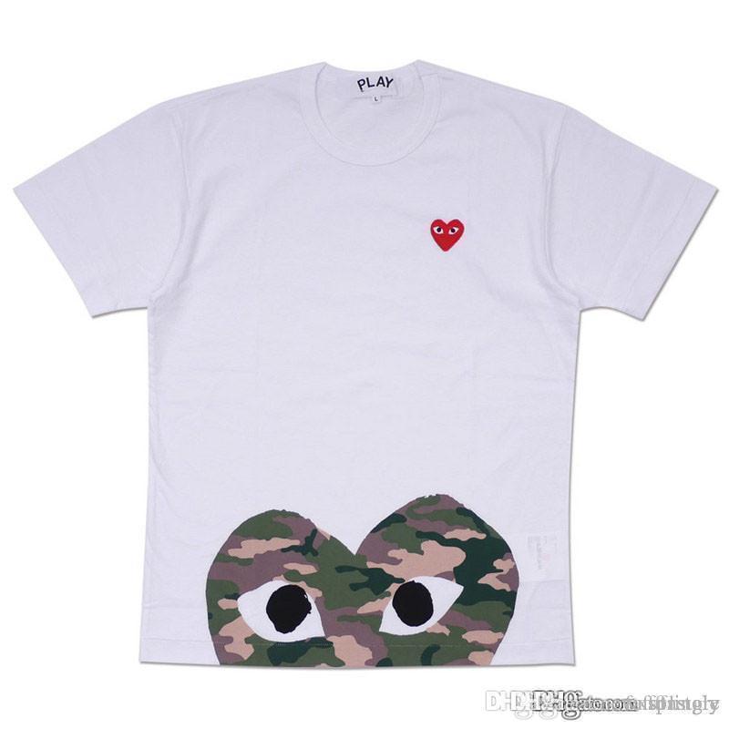 2018 vente en gros meilleure qualité Hot VACANCES rouge camouflage coeur Emoji jouer à pois avec T-shirt coeur à l'envers (blanc)