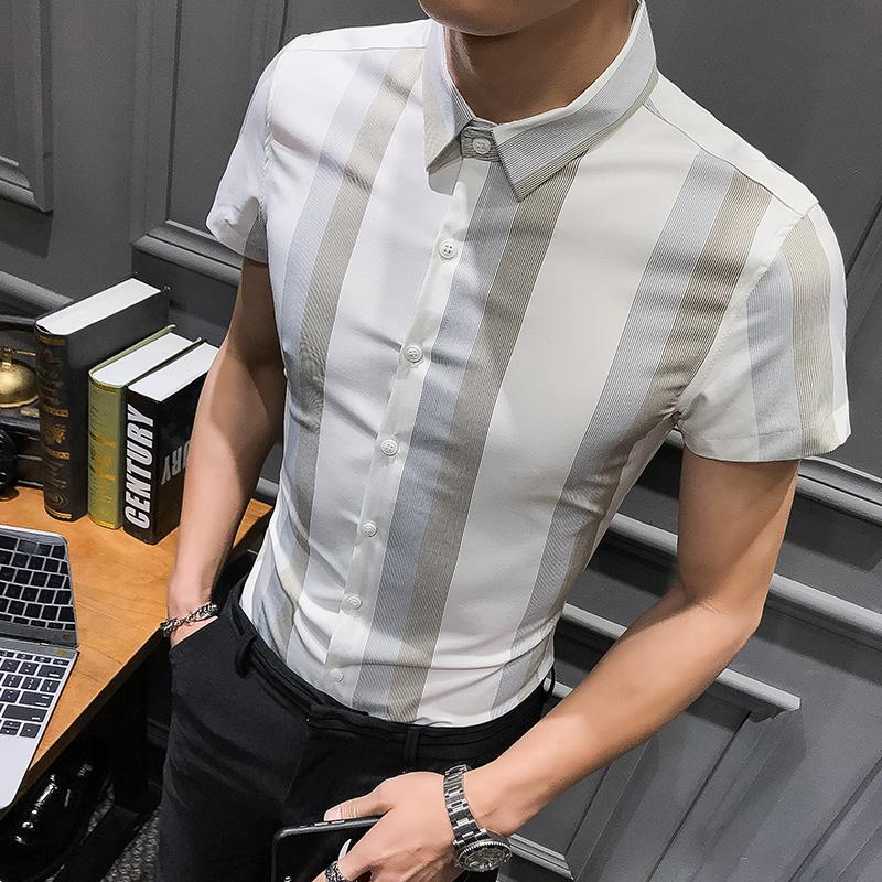 Alion Mens Shirt Short Sleeve Regular Button Down Casual Vertical Striped Dress Shirt