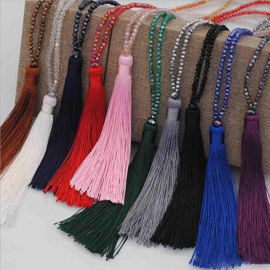 مطرز الشرابة قلادة سترة سلسلة طويلة كريستال الخرز مالا التأمل قلادة الأزياء والمجوهرات للسيدات بالجملة