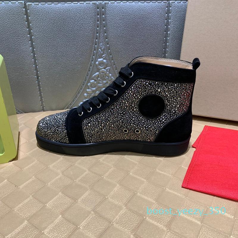 Designer Sneaker Luxo Mens Casual sapatos de fundo Shoes Red Tamanho Big Size Disponível New Tide 35b