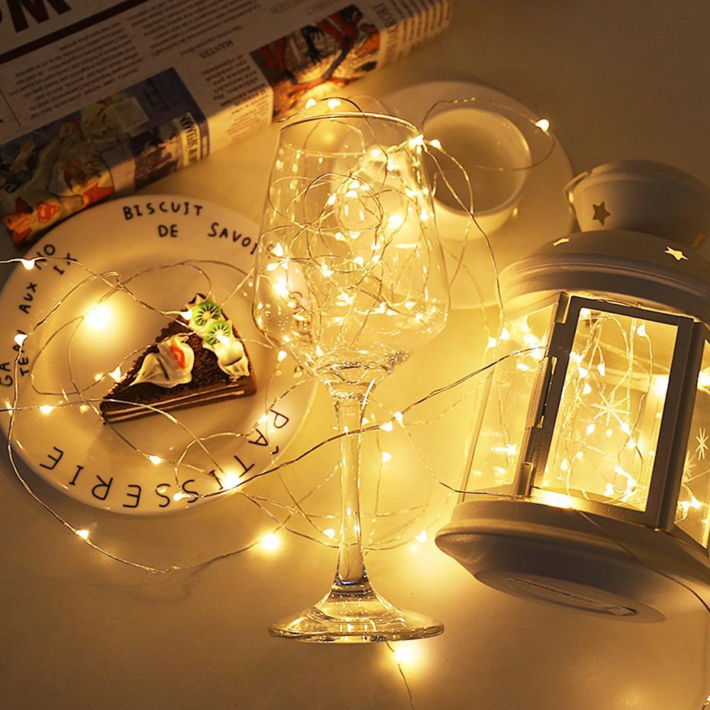 yığın Parti DIY Dekorasyon 2 5M 10M USB LED Strings Su geçirmez Bakır Tel Tatil Açık Peri Işık Pil Noel Düğün İşletilen ...