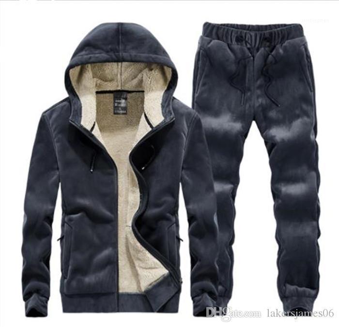 Толстовки с длинным рукавом спортивный стиль Homme Clothing сплошной цвет повседневная одежда Мужская шерсть зимний дизайнер 2 шт. спортивные костюмы