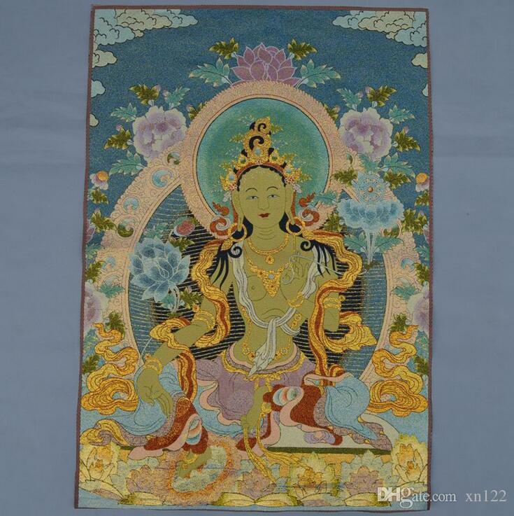 Commercio all'ingrosso broccato di seta pittura ricami delicati pittura tibetana Buddha Thangka Tangka Nepal Tara Kwan Yin Thangka