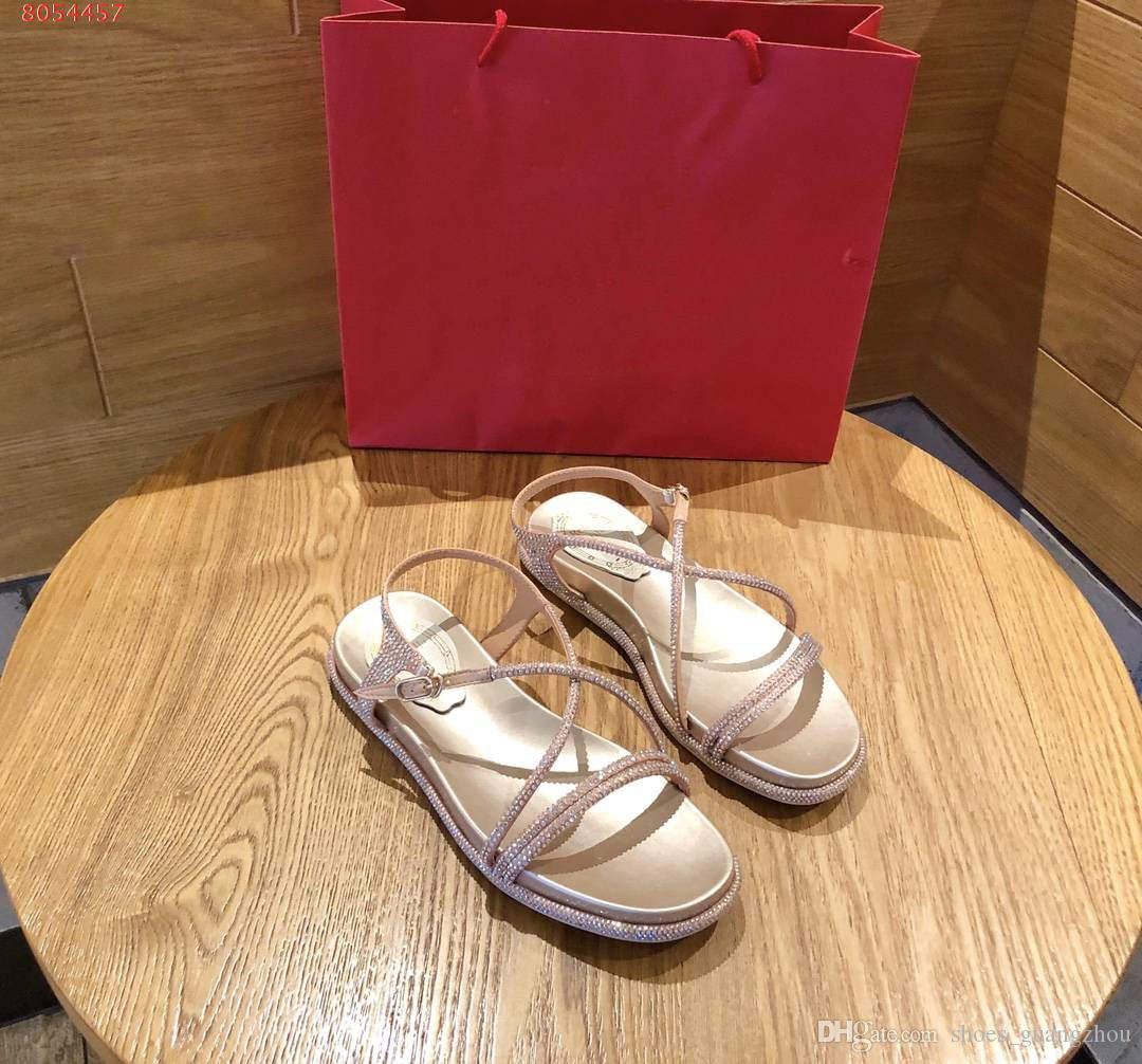 sandalias de verano de estilo clásico, sandalias de las mujeres están disponibles en el champán de plata y diamantes blancos y negros con la bolsa para polvo