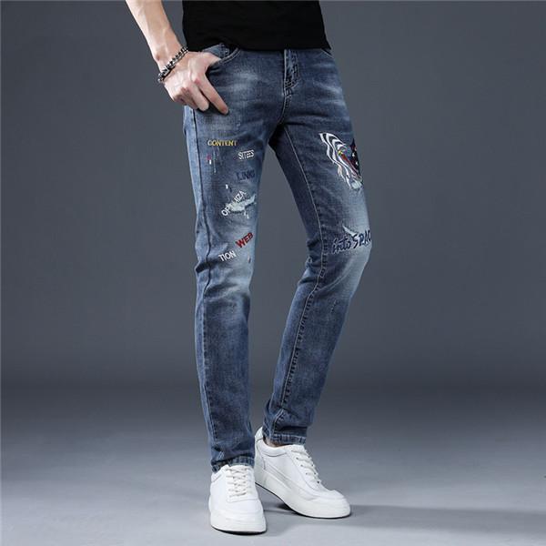 Delikler Merhaba Sokak Hip Hop Suç Pantolon Jogger Yıkama Pantolon Diz Delikli Moda Tasarımcı Slim Fit Jeans Erkekler Jeans ~ PP3 yok