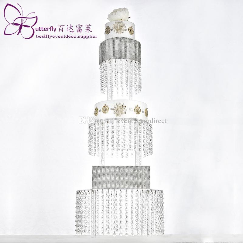 Acrílico Magdalena Torre 3 del soporte de la Ronda de nivel con el colgante de cuentas de cristal de la lámpara soporte de la torta de boda Torta del partido Visualizar Torre
