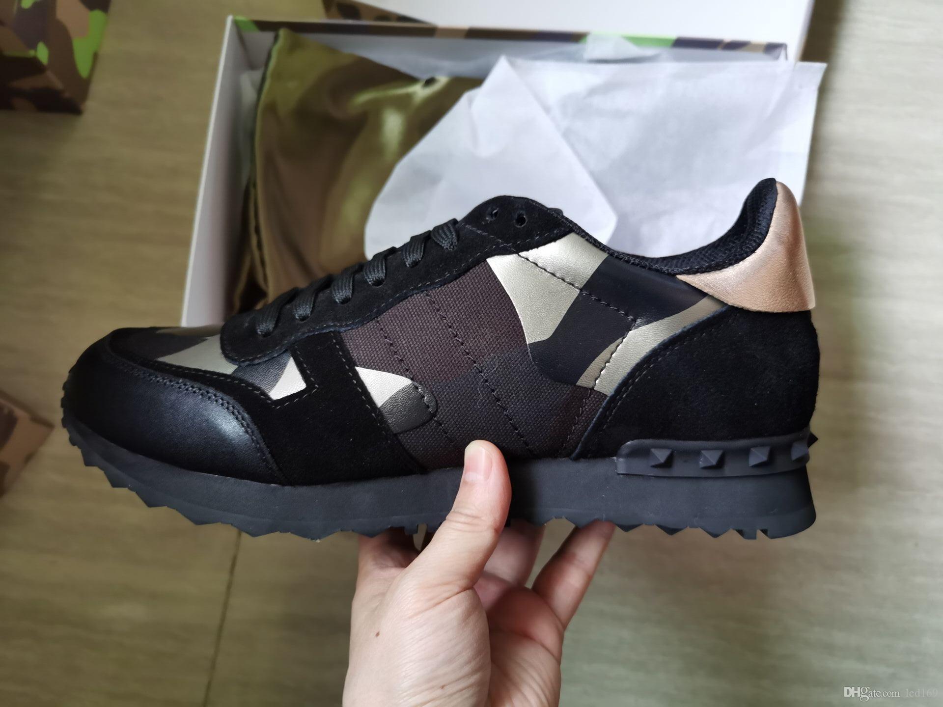 Hombres Mujeres tachonado estrella zapatos de la marca de malla de cuero tachonado zapatos camuflaje Combo estrellas de rock metálico Zapatos Mujer Roca Espárragos