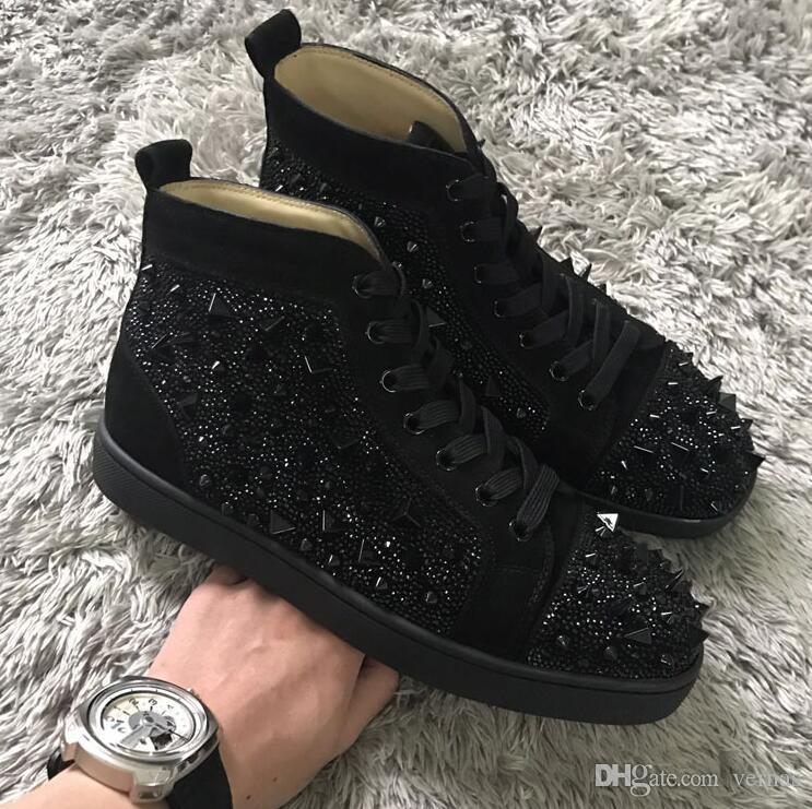 Perfect New Men Women Designer Shoes High Top Red Bottom Casual Flats Shoes Party Time Strass&Spikes Leisure Sneakers Discount Footwear