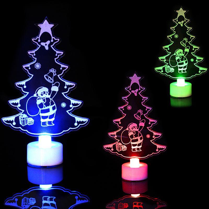 Christmas Decorations For Home LED Desk Decor Small Christmas Tree Colorful Christmas Gift Lamp Light Night Decorations Dropship
