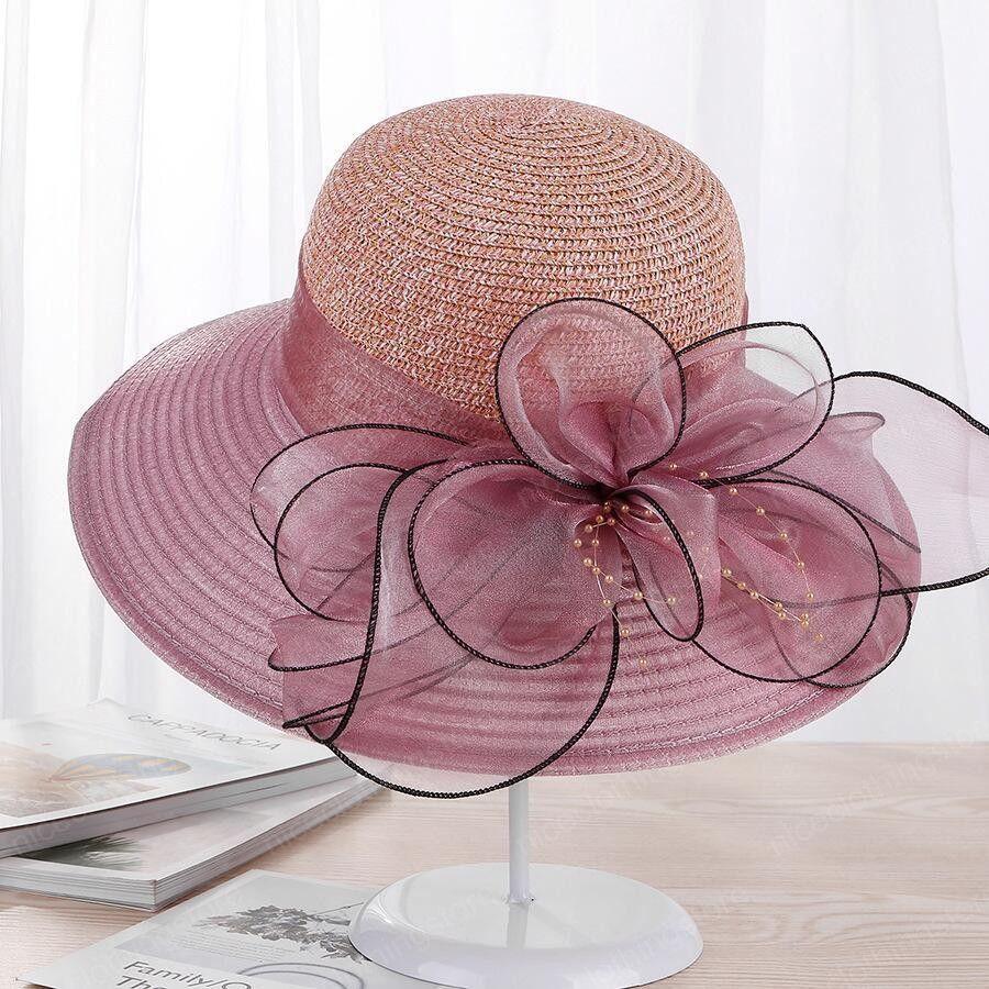 new Large Wide Brim Hats Organza Flower Sun Hats Ladies Wedding Party Dress Floppy Summer Hats for Women