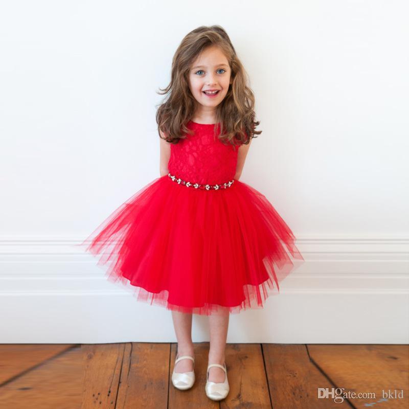 الأميرة فتاة اللباس الصيف أكمام توتو حزب فساتين عيد للفتيات الأطفال زي أحمر الدانتيل عيد الميلاد اللباس