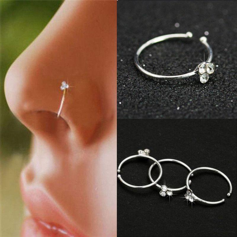 Nose Clip Copper Circular Nose Ring Circular Punk Small Thin Clear Rhinestone Flower Lip Ear on Fake Piercing Body Jewelry