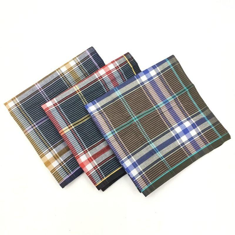 12PCS 40 * 40CM Lenço de homem escuro Algodão de pequena cor lenço xadrez toalha quadrada