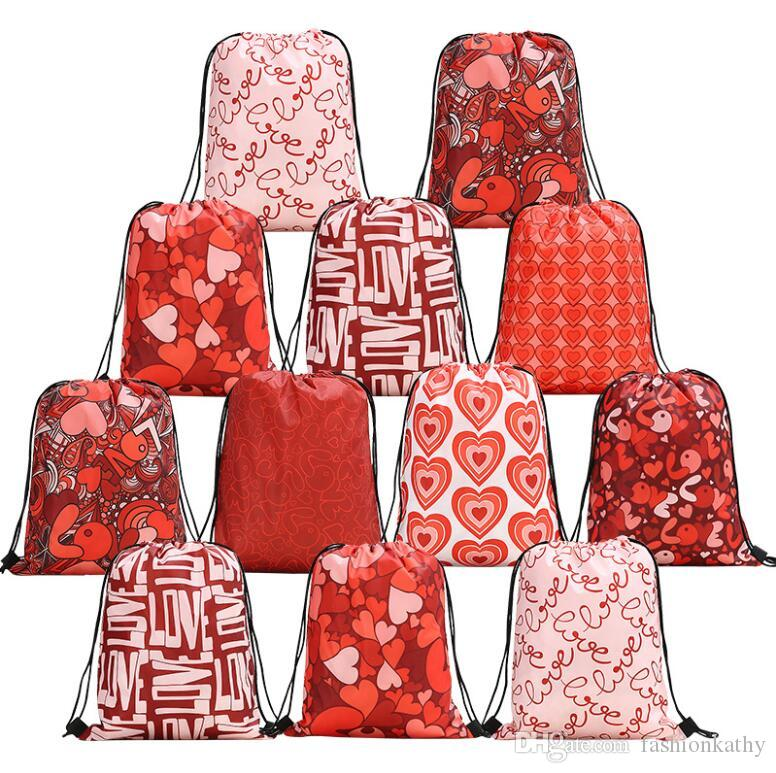 New Fashion Romantic Red Lover Pattern Polyester Storage Bag Bundle Pocket With String Unisex Gift Decor Free Shipping