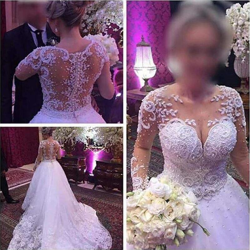 Manches longues de mariée de luxe Boho perles robe de bal élégante Robes de mariée Robe de mariage Tulle Robes de mariée 2020 Trouwjurk