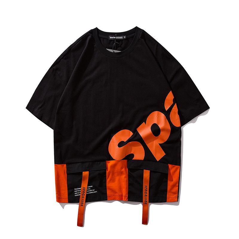 2020 Новые мужские дизайнерские футболки Черный Оранжевый с коротким рукавом Свободные карманные Hip Hop Рубашки Streetwear Мужские Тис Размер M-2XL