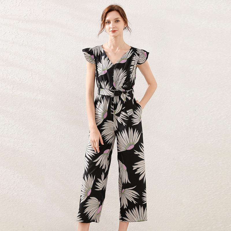 Mulheres Jumpsuit 2020 floral do verão impressão de manga curta casual solta macacão Femme Preto Chiffon elegante Verão largos macacões perna