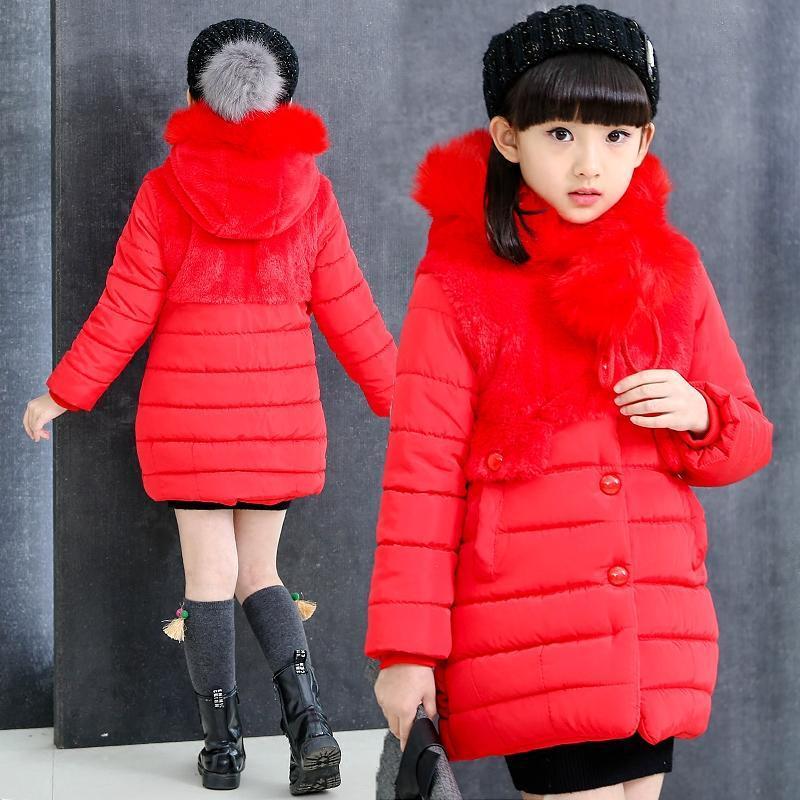 2017 новая мода новорожденных девочек зимние пальто сгущаются теплый 95% хлопок-ватник 2 цвета для 4-12Y дети дети с капюшоном верхняя одежда
