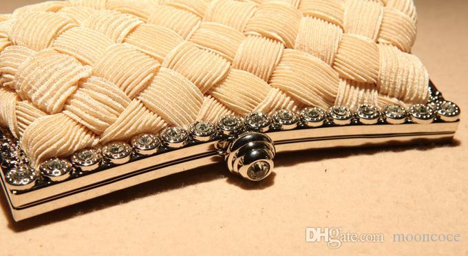 Damen Weave Frau Handtasche Mini Clutch Abend Vintage Crossbody Schulter Messager Taschen Mode Mädchen Kupplungen
